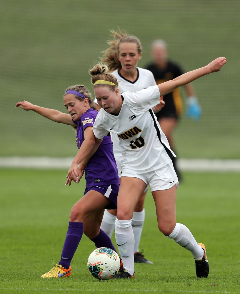 Iowa Hawkeyes midfielder/defender Natalie Winters (10) during a 6-1 win over Northern Iowa Sunday, August 25, 2019 at the Iowa Soccer Complex. (Brian Ray/hawkeyesports.com)