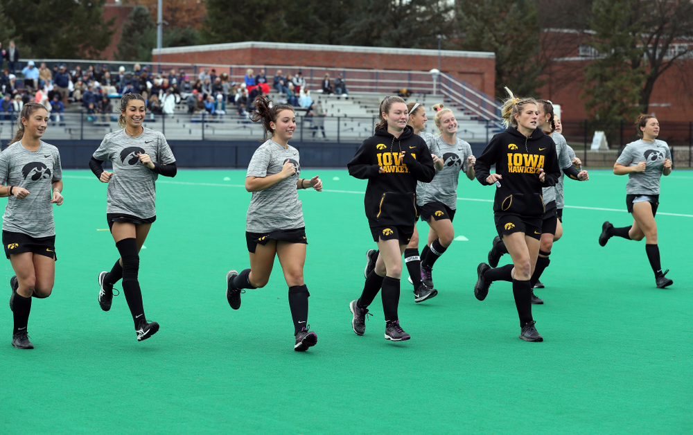 The Iowa Hawkeyes warm up for their game against Penn State in the 2019 Big Ten Field Hockey Tournament Championship Game Sunday, November 10, 2019 in State College. (Brian Ray/hawkeyesports.com)