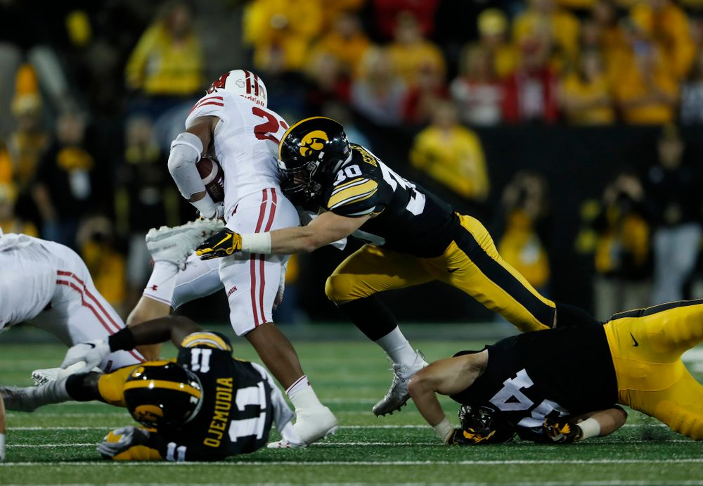 Iowa Hawkeyes defensive back Jake Gervase (30) against the Wisconsin Badgers Saturday, September 22, 2018 at Kinnick Stadium. (Brian Ray/hawkeyesports.com)