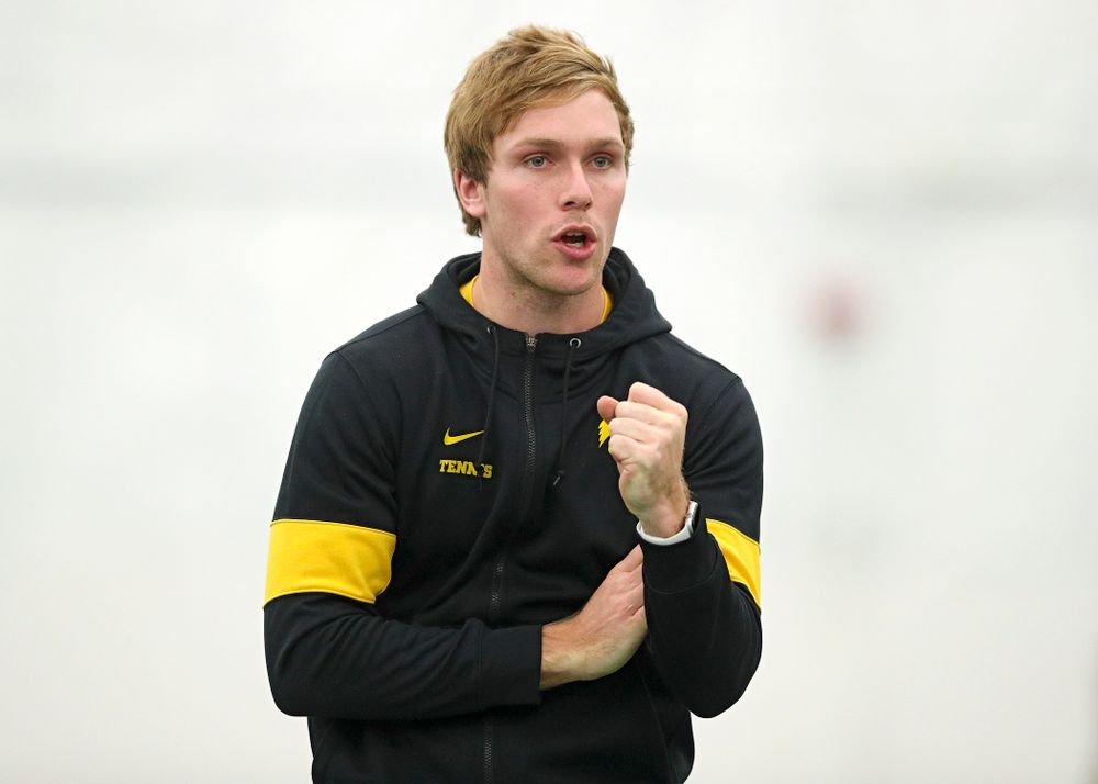 Daniel Leitner, program coordinator, celebrates a point during their match at the Hawkeye Tennis and Recreation Complex in Iowa City on Sunday, February 16, 2020. (Stephen Mally/hawkeyesports.com)