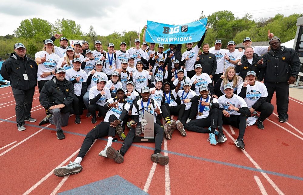 The Hawkeyes after winning the Men's Big Ten Outdoor Track and Field Championships on the third day of the Big Ten Outdoor Track and Field Championships at Francis X. Cretzmeyer Track in Iowa City on Sunday, May. 12, 2019. (Stephen Mally/hawkeyesports.com)