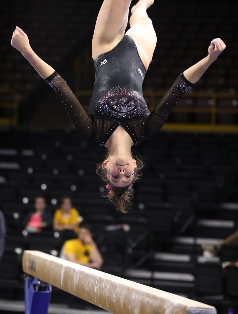 Iowa's Bridget Killian competes on the beam during their meet against the Minnesota Golden Gophers Saturday, January 19, 2019 at Carver-Hawkeye Arena. (Brian Ray/hawkeyesports.com)