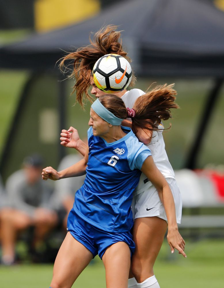 Iowa Hawkeyes Riley Burns (33) against the Creighton Bluejays  Sunday, August 19, 2018 at the Iowa Soccer Complex. (Brian Ray/hawkeyesports.com)