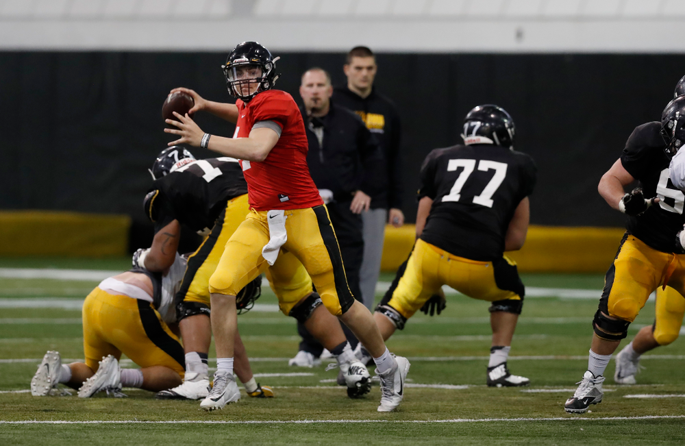 Iowa Hawkeyes quarterback Nathan Stanley (4) during spring practice No. 13 Wednesday, April 18, 2018 at the Hansen Football Performance Center. (Brian Ray/hawkeyesports.com)