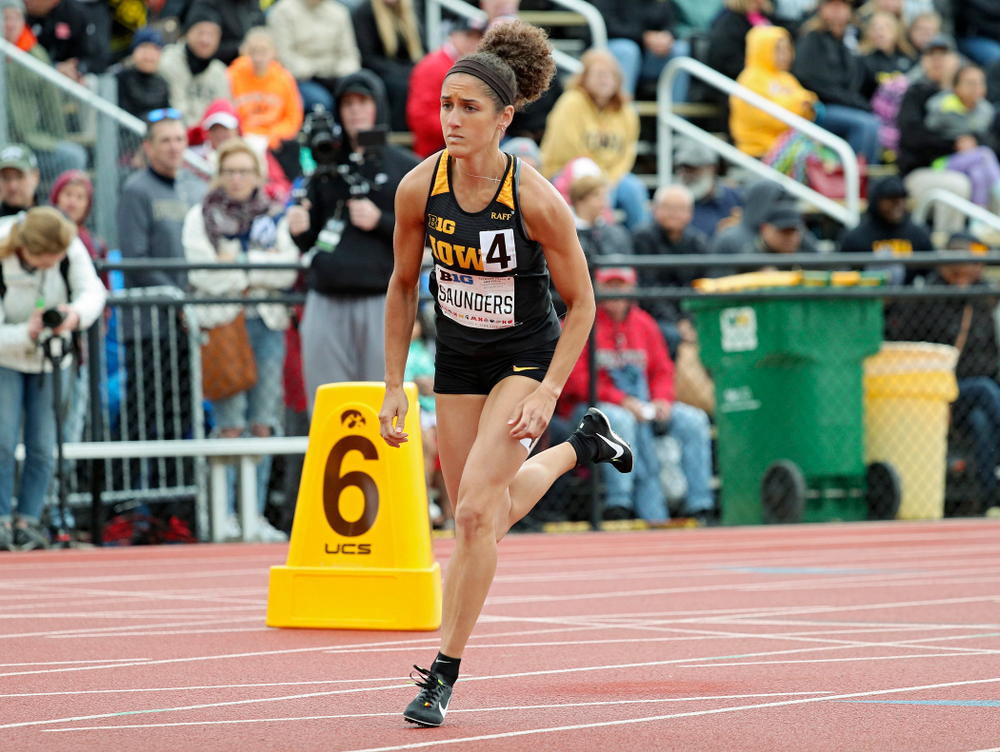 Iowa's Tia Saunders runs in the women's 800 meter event on the second day of the Big Ten Outdoor Track and Field Championships at Francis X. Cretzmeyer Track in Iowa City on Saturday, May. 11, 2019. (Stephen Mally/hawkeyesports.com)