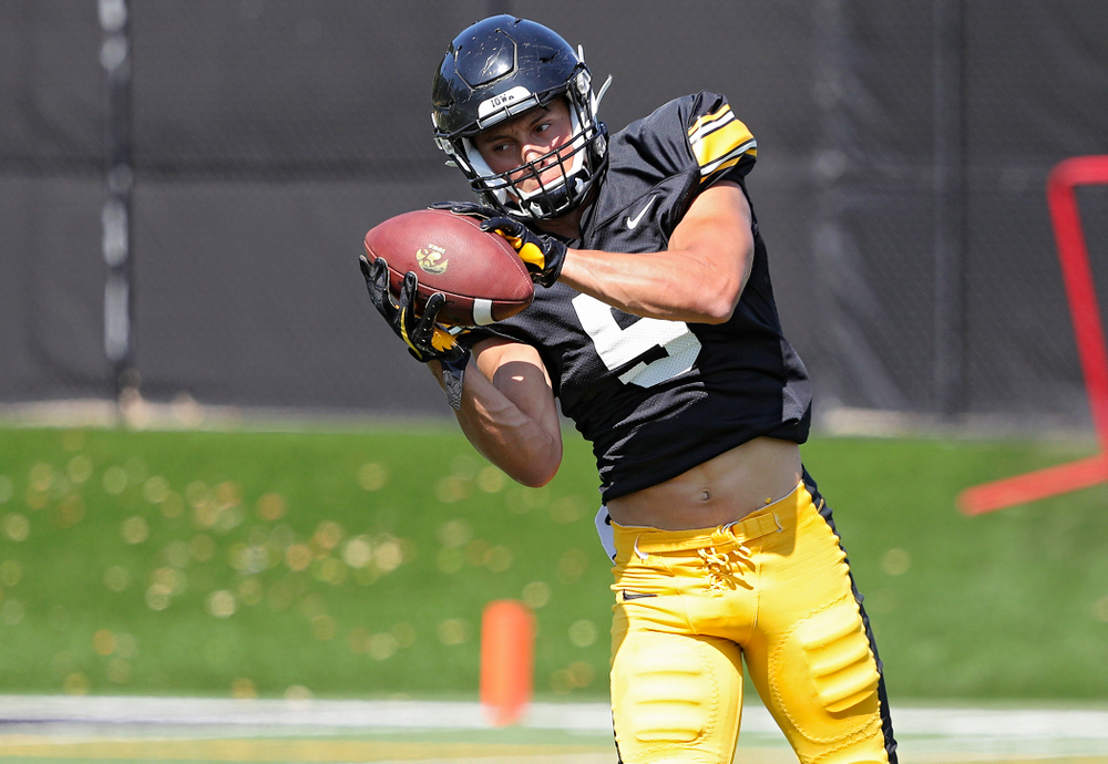 Iowa Hawkeyes wide receiver Oliver Martin (5) eyes the ball during Fall Camp Practice #5 at the Hansen Football Performance Center in Iowa City on Tuesday, Aug 6, 2019. (Stephen Mally/hawkeyesports.com)