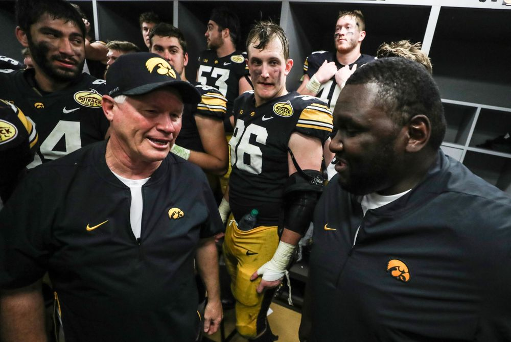 Kelvin Bell and Reese Morgan against the Mississippi State Bulldogs in the 2019 Outback Bowl Tuesday, January 1, 2019 at Raymond James Stadium. (Max Allen/hawkeyesports.com)