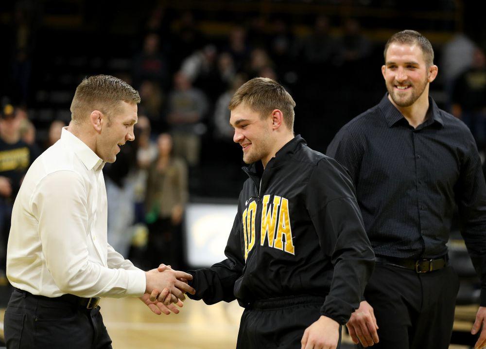 Iowa's John Keegan Shaw during senior day activities Sunday, February 23, 2020 at Carver-Hawkeye Arena. (Brian Ray/hawkeyesports.com)