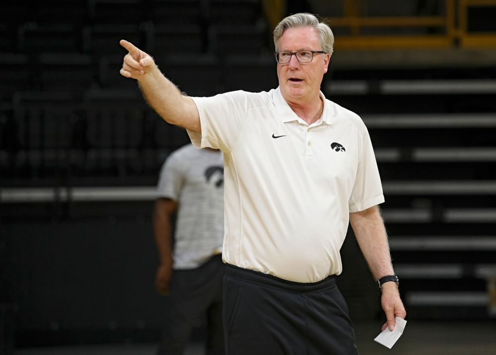 Iowa Hawkeyes head coach Fran McCaffery directs his team during practice at Carver-Hawkeye Arena in Iowa City on Monday, Sep 30, 2019. (Stephen Mally/hawkeyesports.com)
