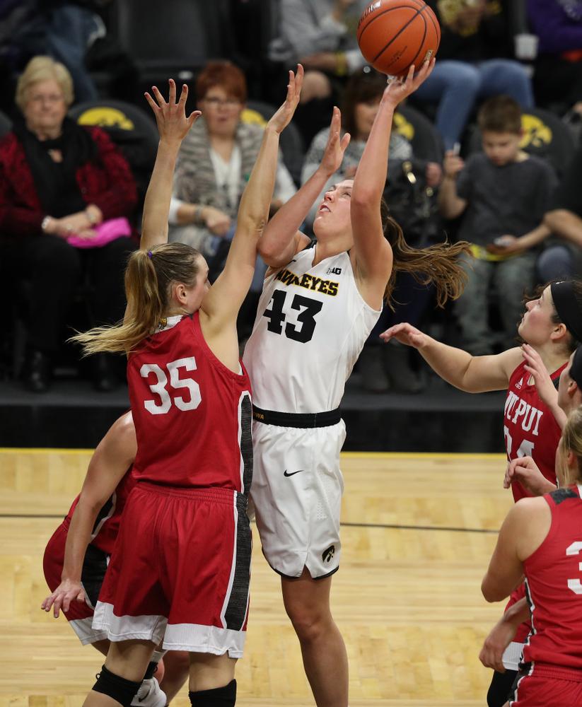 Iowa Hawkeyes forward Amanda Ollinger (43) against the IUPUI Jaguars Saturday, December 8, 2018 at Carver-Hawkeye Arena. (Brian Ray/hawkeyesports.com)