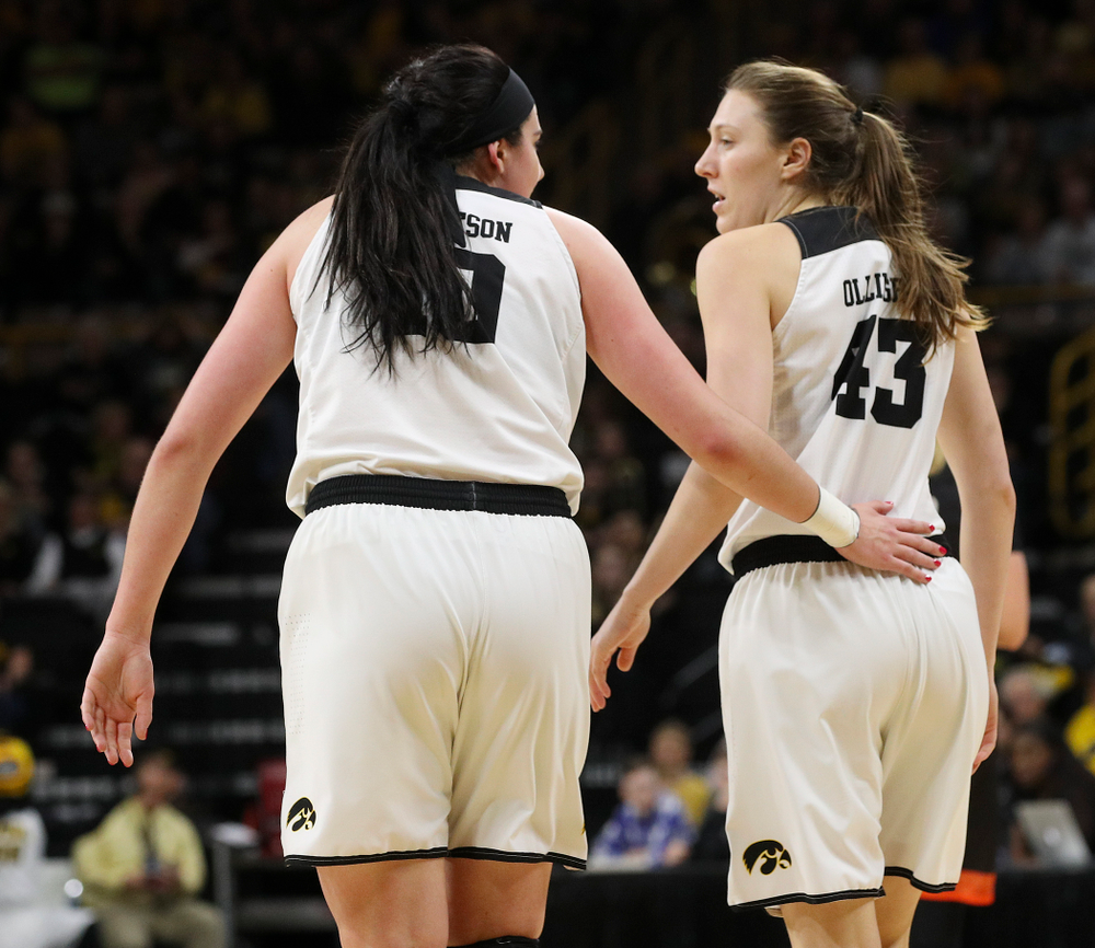 Iowa Hawkeyes forward Megan Gustafson (10) talks with forward Amanda Ollinger (43) during the first round of the 2019 NCAA Women's Basketball Tournament at Carver Hawkeye Arena in Iowa City on Friday, Mar. 22, 2019. (Stephen Mally for hawkeyesports.com)