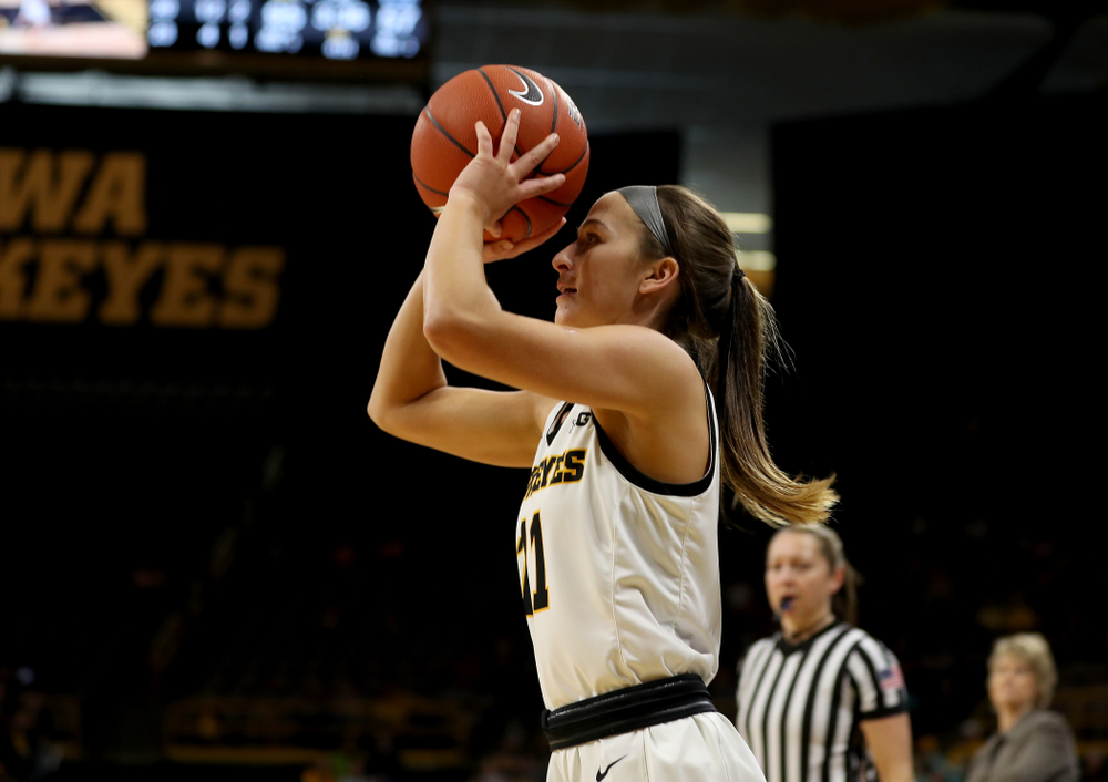 Iowa Hawkeyes guard Megan Meyer (11) against Penn State Saturday, February 22, 2020 at Carver-Hawkeye Arena. (Brian Ray/hawkeyesports.com)