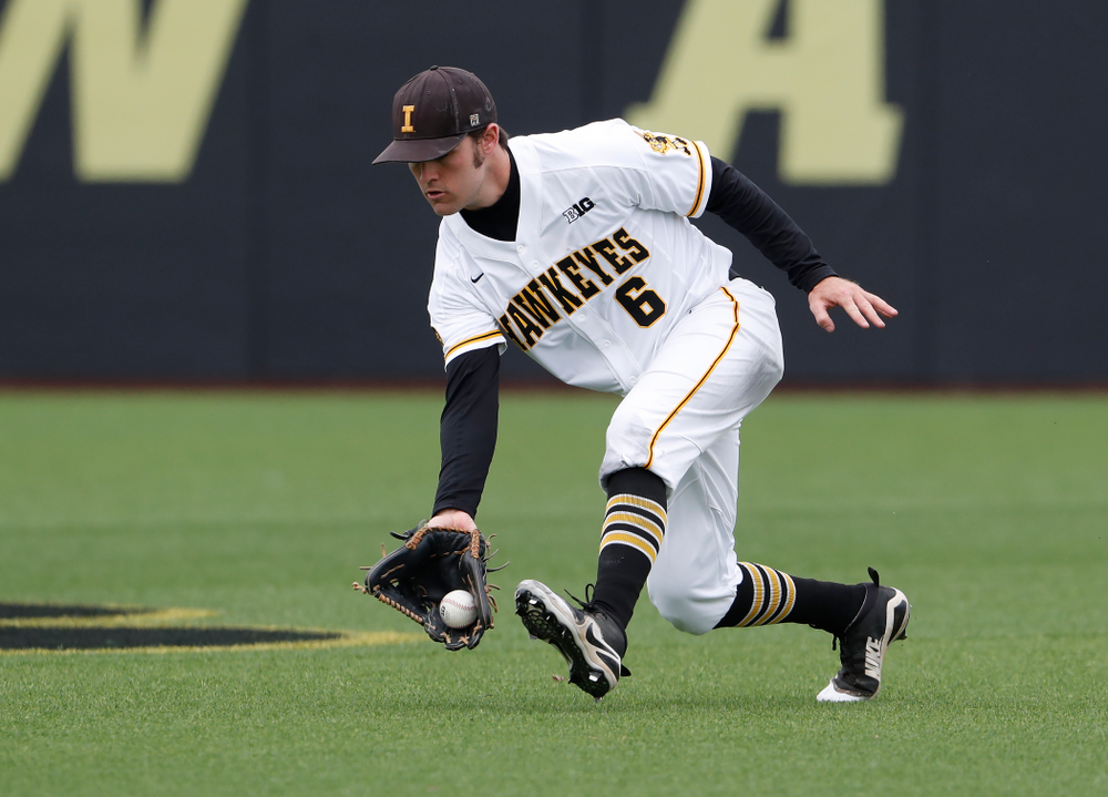 Iowa Hawkeyes outfielder Justin Jenkins (6) during a double header against the Indiana Hoosiers Friday, March 23, 2018 at Duane Banks Field. (Brian Ray/hawkeyesports.com)