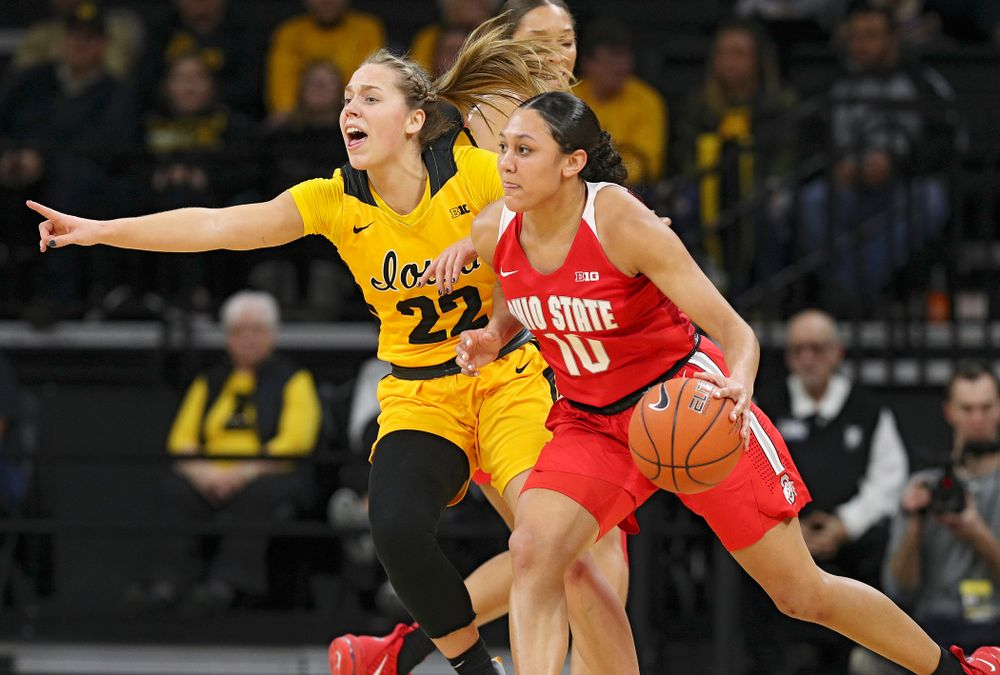 Iowa Hawkeyes guard Kathleen Doyle (22) defends during the first quarter of their game at Carver-Hawkeye Arena in Iowa City on Thursday, January 23, 2020. (Stephen Mally/hawkeyesports.com)