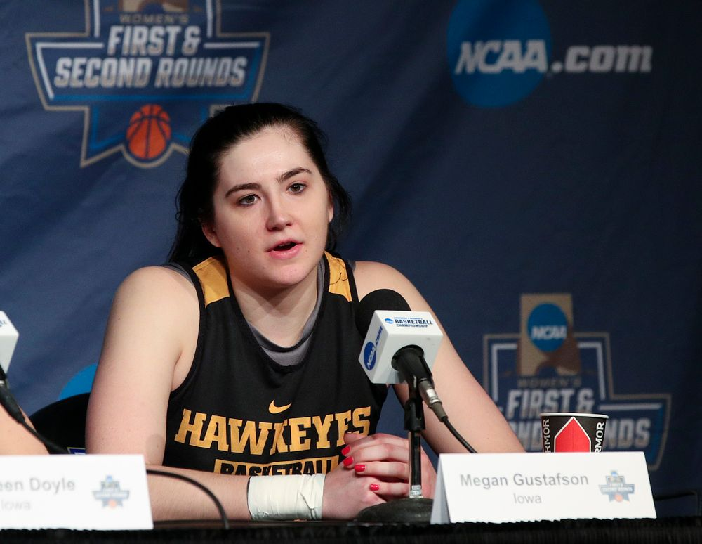 Iowa Hawkeyes forward Megan Gustafson (10) answers a question during media availability before their next game in the 2019 NCAA Women's Basketball Tournament at Carver Hawkeye Arena in Iowa City on Saturday, Mar. 23, 2019. (Stephen Mally for hawkeyesports.com)