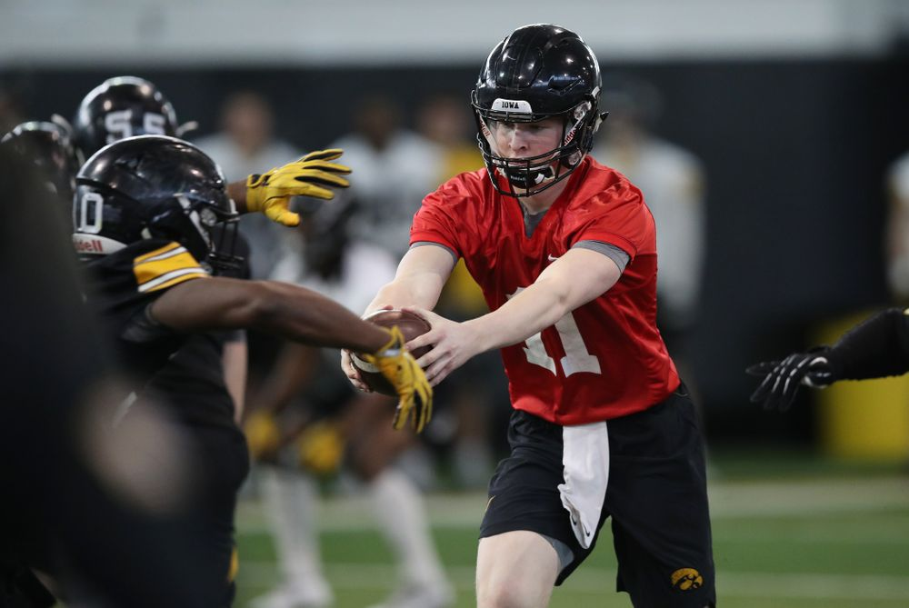 Iowa Hawkeyes quarterback Connor Kapisak (11) during preparation for the 2019 Outback Bowl Tuesday, December 18, 2018 at the Hansen Football Performance Center. (Brian Ray/hawkeyesports.com)