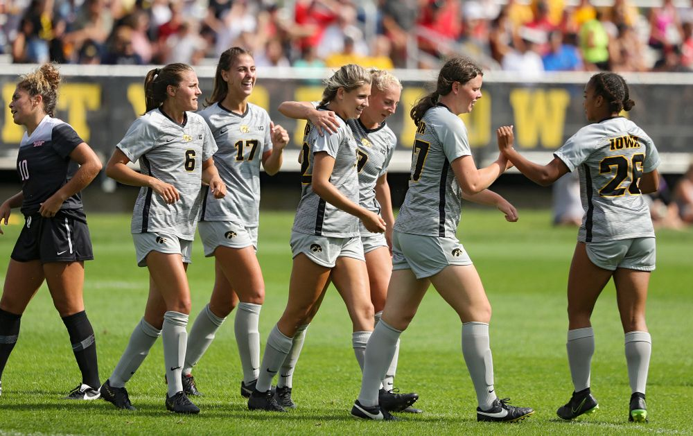 Iowa forward Gianna Gourley (32) celebrates with her teammates after scoring a goal during the first half of their match at the Iowa Soccer Complex in Iowa City on Sunday, Sep 1, 2019. (Stephen Mally/hawkeyesports.com)