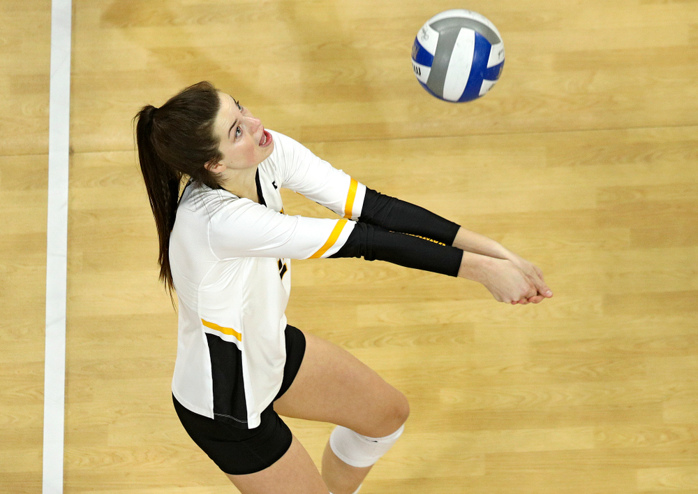 Iowa's Courtney Buzzerio (2) eyes the ball during the third set of their match at Carver-Hawkeye Arena in Iowa City on Saturday, Nov 30, 2019. (Stephen Mally/hawkeyesports.com)