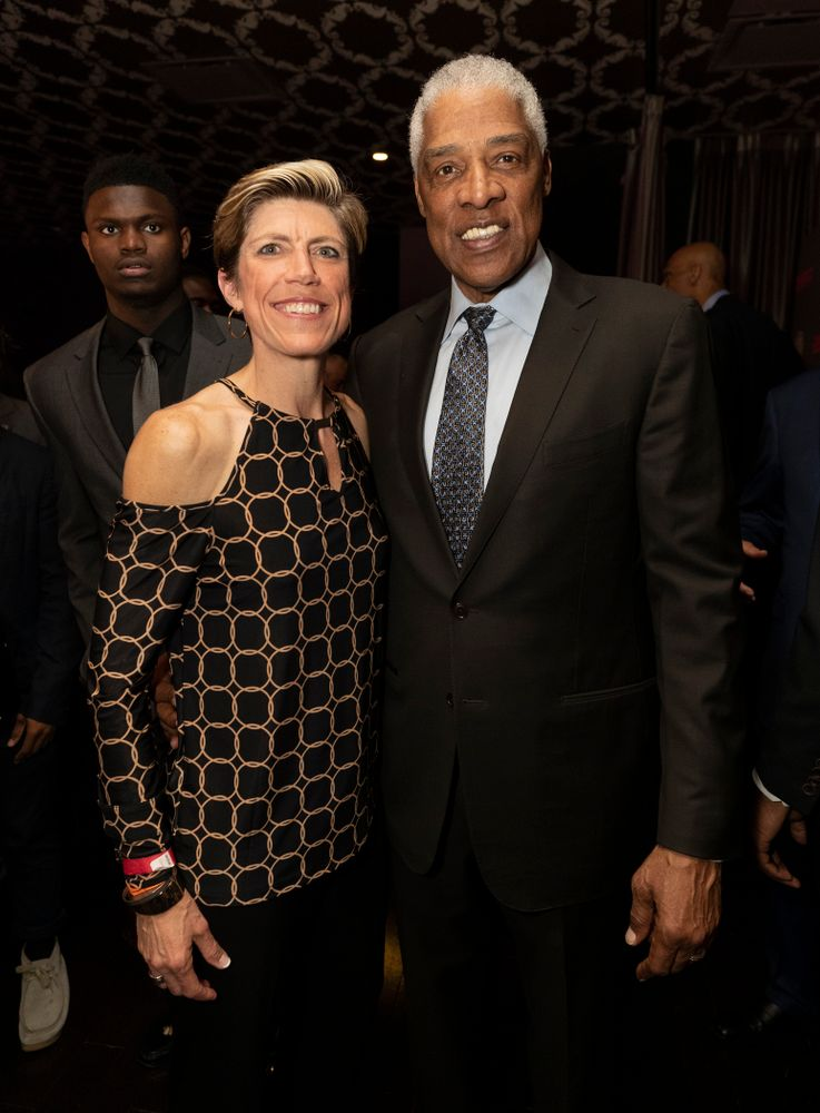 Iowa Hawkeyes associate head coach Jan Jensen with NBA great Julius Erving before the ESPN College Basketball Awards show Friday, April 12, 2019 at The Novo at LA Live.  (Brian Ray/hawkeyesports.com)
