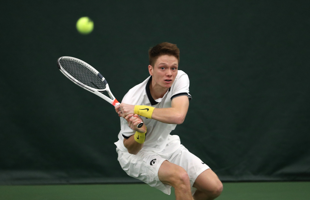 Iowa's Jason Kerst against North Dakota Friday, January 25, 2019 at the Hawkeye Tennis and Recreation Complex. (Brian Ray/hawkeyesports.com)