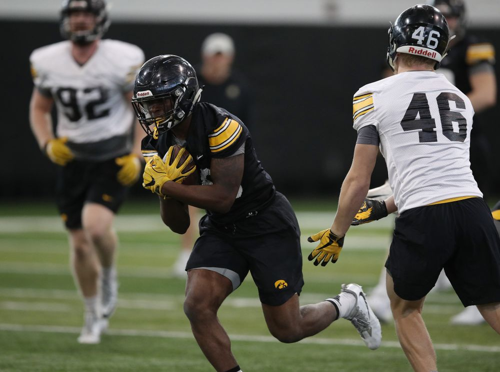 Iowa Hawkeyes running back Henry Geil (30) during preparation for the 2019 Outback Bowl Tuesday, December 18, 2018 at the Hansen Football Performance Center. (Brian Ray/hawkeyesports.com)