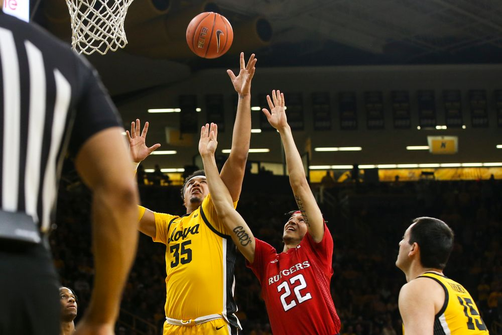 Iowa Hawkeyes forward Cordell Pemsl (35) attempts to grab a rebound during the Iowa men's basketball game vs Rutgers on Wednesday, January 22, 2020 at Carver-Hawkeye Arena. (Lily Smith/hawkeyesports.com)