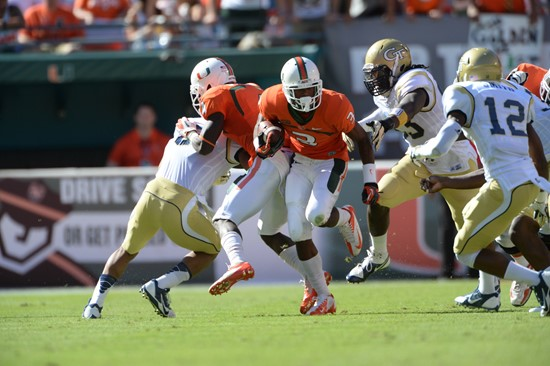 University of Miami Hurricanes wide receiver Stacy Coley #3 plays in a game against the Georgia Tech Yellow Jackets at Sun Life Stadium on October 5,...