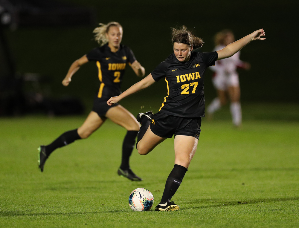 Iowa Hawkeyes forward Samantha Tawharu (27) against the Nebraska Cornhuskers Thursday, October 3, 2019 at the Iowa Soccer Complex. (Brian Ray/hawkeyesports.com)