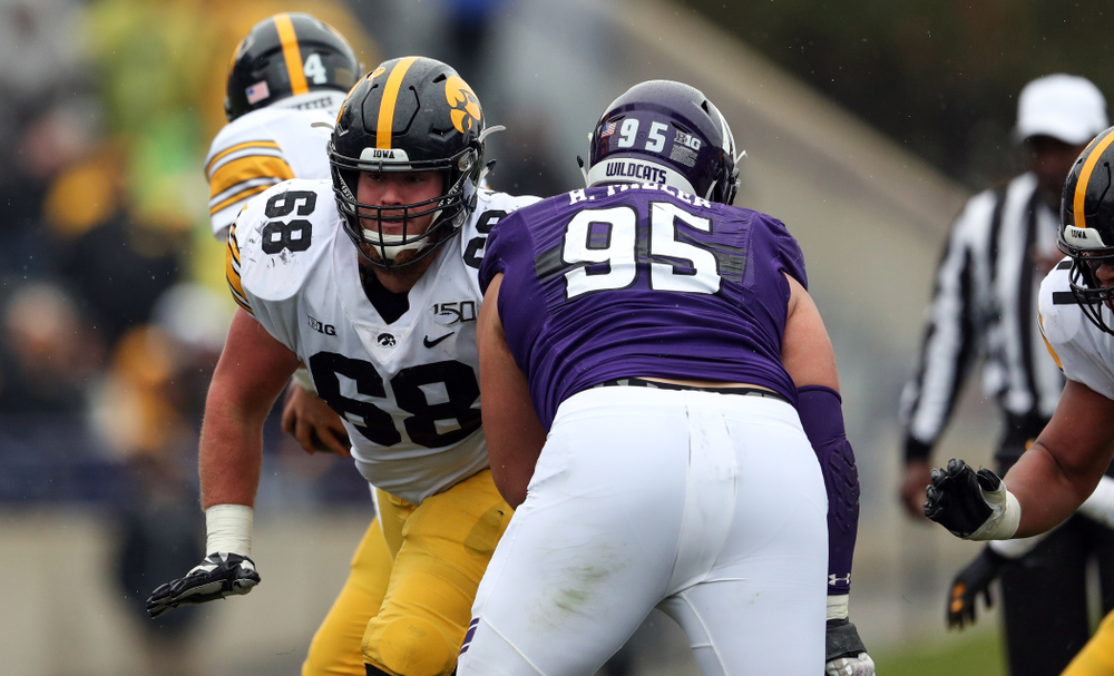 Iowa Hawkeyes offensive lineman Landan Paulsen (68) against the Northwestern Wildcats Saturday, October 26, 2019 at Ryan Field in Evanston, Ill. (Brian Ray/hawkeyesports.com)