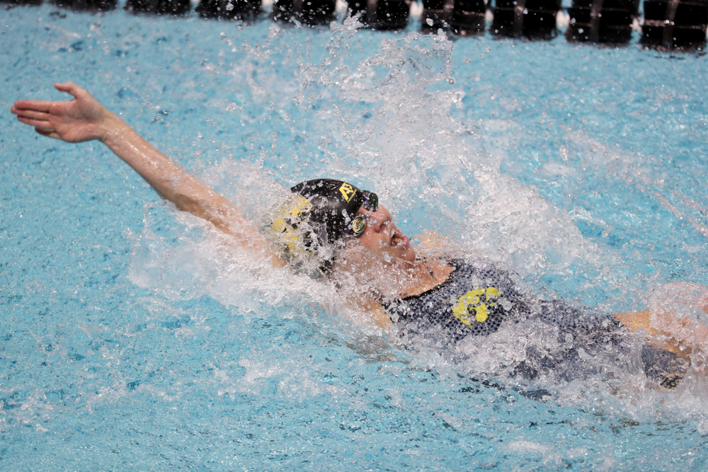 IowaÕs Kennedy Gilbertson swims the backstroke leg of the 200 Medley Relay against Notre Dame and Illinois Saturday, January 11, 2020 at the Campus Recreation and Wellness Center.  (Brian Ray/hawkeyesports.com)