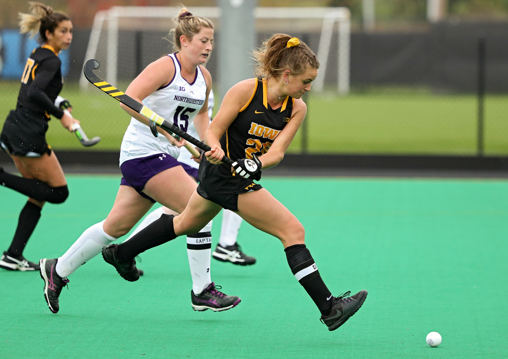 Iowa's Maddy Murphy (26) scores a goal during the fourth quarter of their game at Grant Field in Iowa City on Saturday, Oct 26, 2019. (Stephen Mally/hawkeyesports.com)