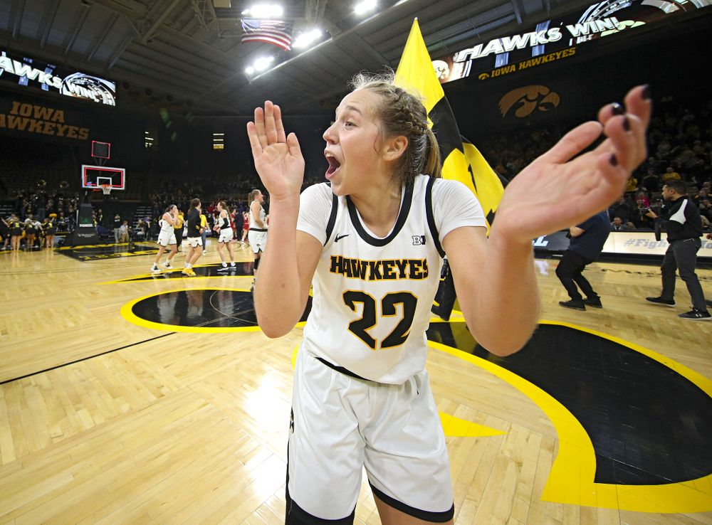 Iowa Hawkeyes guard Kathleen Doyle (22) celebrates after their double overtime win at Carver-Hawkeye Arena in Iowa City on Sunday, January 12, 2020. (Stephen Mally/hawkeyesports.com)