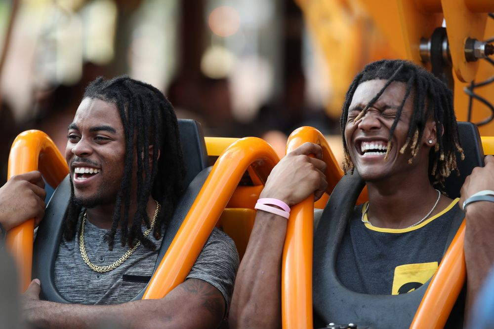 Iowa Hawkeyes defensive back Devonte Young (17), and wide receiver Brandon Smith (12) ride Falcon's Fury during an Outback Bowl team event Saturday, December 29, 2018 at Busch Gardens in Tampa, FL. (Brian Ray/hawkeyesports.com)