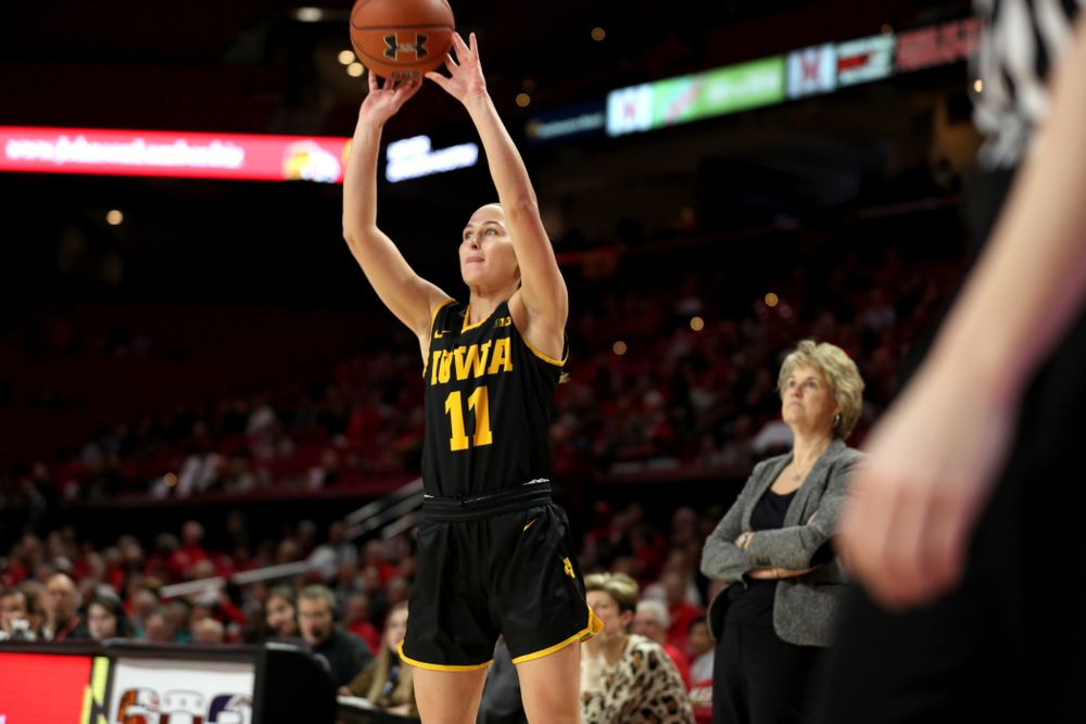 Iowa Hawkeyes guard Megan Meyer (11) against the Maryland Terrapins Thursday, February 13, 2020 at the Xfinity Center in College Park, MD. (Brian Ray/hawkeyesports.com)