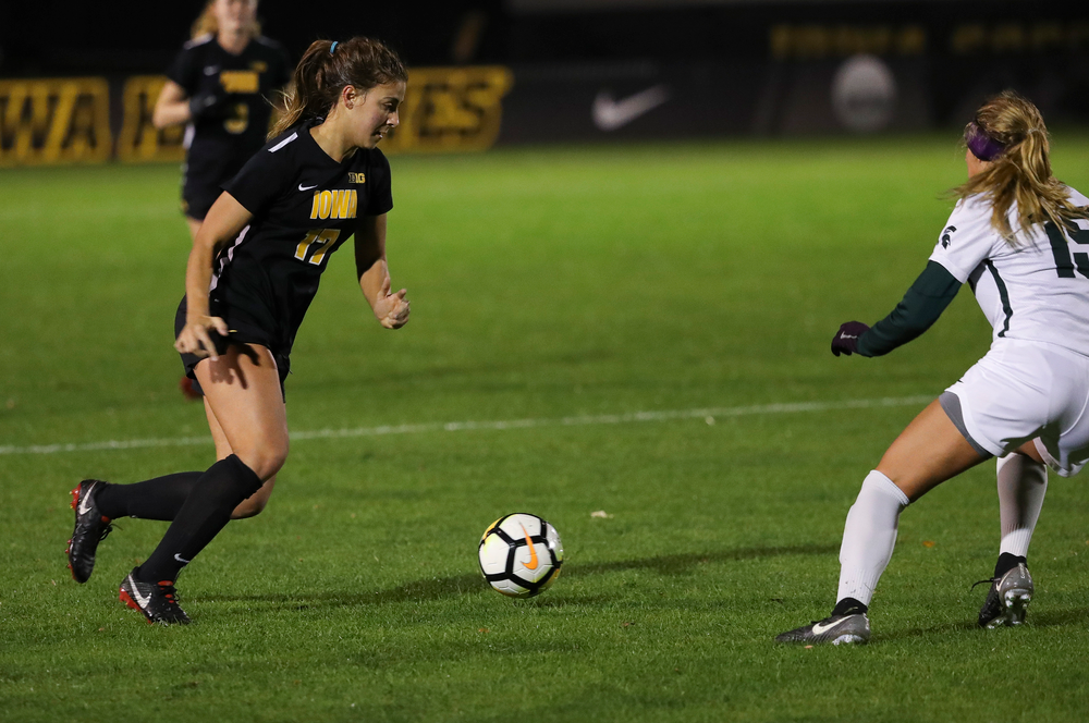 Iowa Hawkeyes defender Hannah Drkulec (17) dribbles the ball during a game against Michigan State at the Iowa Soccer Complex on October 12, 2018. (Tork Mason/hawkeyesports.com)