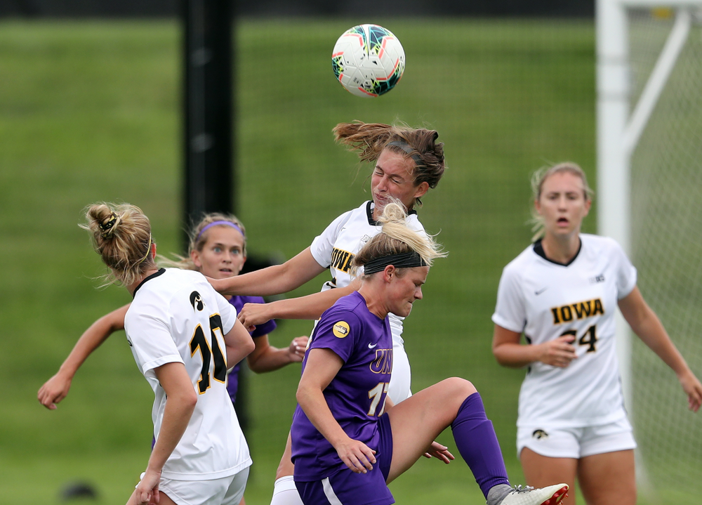 Iowa Hawkeyes defender Riley Whitaker (5) during a 6-1 win over Northern Iowa Sunday, August 25, 2019 at the Iowa Soccer Complex. (Brian Ray/hawkeyesports.com)