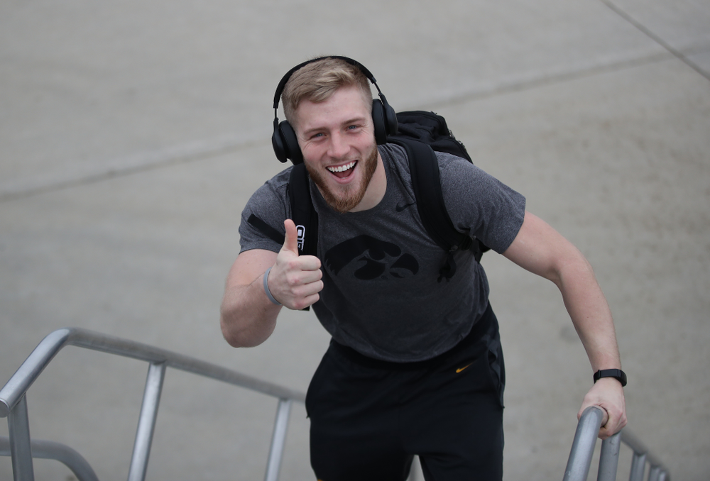 Iowa Hawkeyes defensive back Jake Gervase (30) boards the team plane Wednesday, December 26, 2018 as they travel to Tampa, Florida for the Outback Bowl. (Brian Ray/hawkeyesports.com)