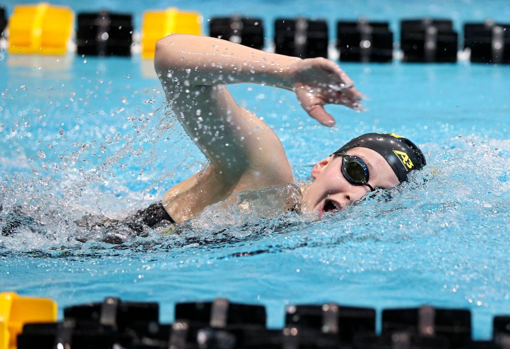 Iowa's Taylor Hartley swims the women's 1650 yard freestyle event during the 2020 Women's Big Ten Swimming and Diving Championships at the Campus Recreation and Wellness Center in Iowa City on Saturday, February 22, 2020. (Stephen Mally/hawkeyesports.com)