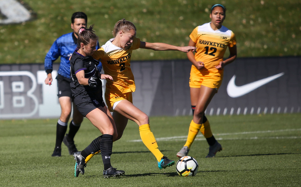 Iowa Hawkeyes midfielder Hailey Rydberg (2) dribbles the ball during a game against Northwestern at the Iowa Soccer Complex on October 21, 2018. (Tork Mason/hawkeyesports.com)