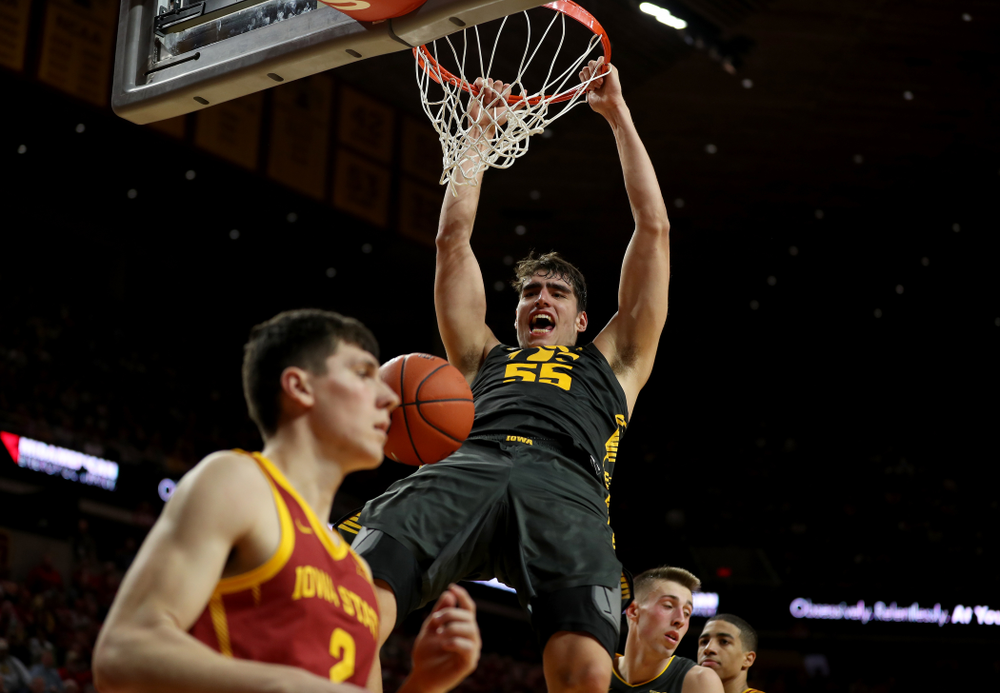 Iowa Hawkeyes forward Luka Garza (55) against the Iowa State Cyclones Thursday, December 12, 2019 at Hilton Coliseum in Ames, Iowa(Brian Ray/hawkeyesports.com)