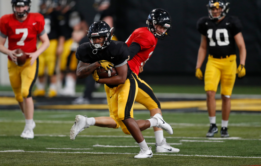 Iowa Hawkeyes running back Kyshaun Bryan (16) during spring practice Wednesday, March 28, 2018 at the Hansen Football Performance Center.  (Brian Ray/hawkeyesports.com)