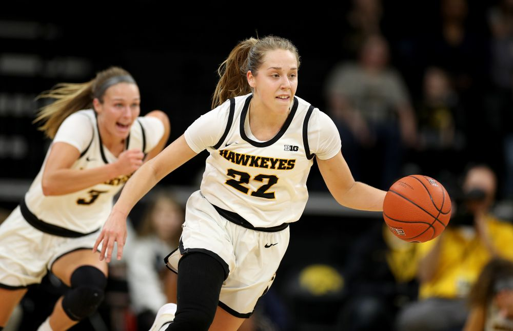 Iowa Hawkeyes guard Kathleen Doyle (22) against Penn State Saturday, February 22, 2020 at Carver-Hawkeye Arena. (Brian Ray/hawkeyesports.com)