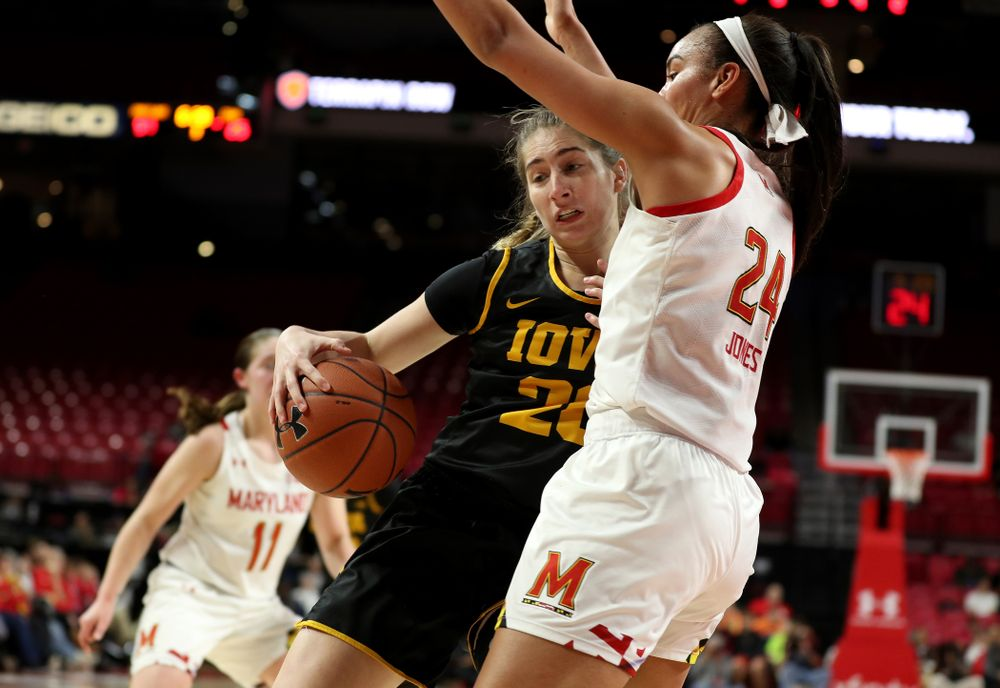 Iowa Hawkeyes guard Kate Martin (20) against the Maryland Terrapins Thursday, February 13, 2020 at the Xfinity Center in College Park, MD. (Brian Ray/hawkeyesports.com)