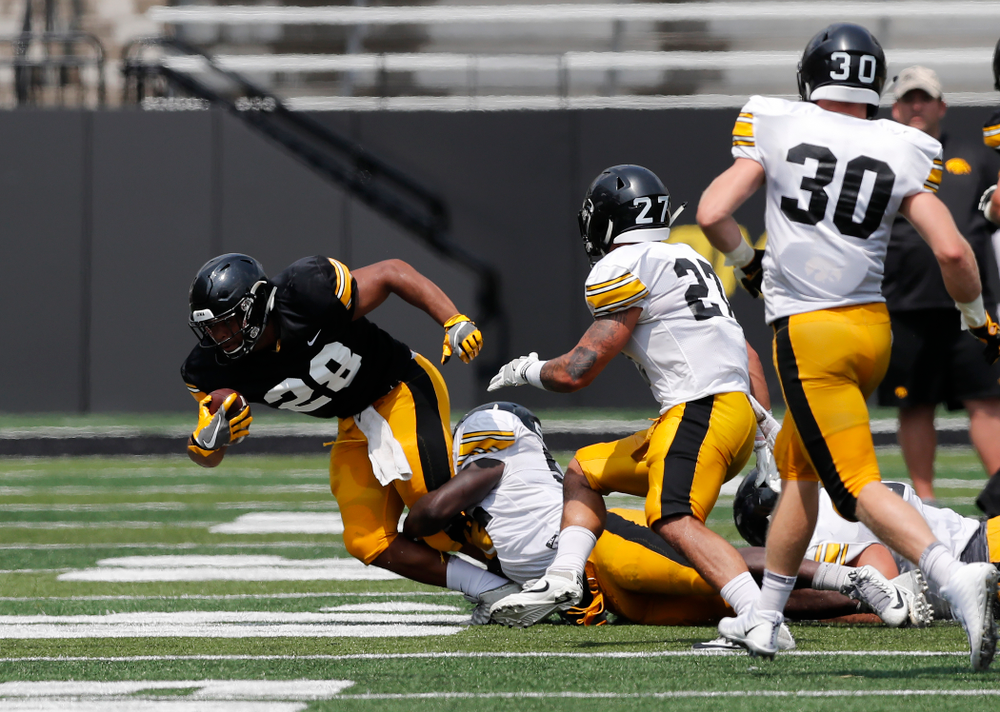 Iowa Hawkeyes running back Toren Young (28) during Kids Day Saturday, August 11, 2018 at Kinnick Stadium. (Brian Ray/hawkeyesports.com)