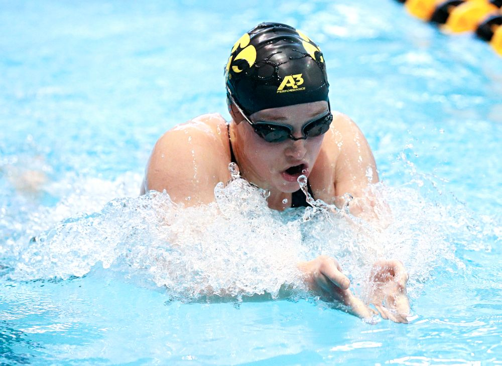Iowa's Kelsey Drake swims the women's 200 yard individual medley preliminary event during the 2020 Women's Big Ten Swimming and Diving Championships at the Campus Recreation and Wellness Center in Iowa City on Thursday, February 20, 2020. (Stephen Mally/hawkeyesports.com)