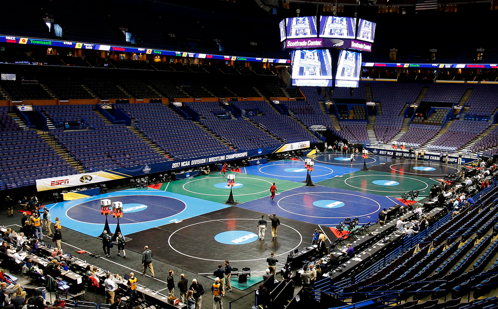 Eight mats ready on the arena of the Scottrade Center