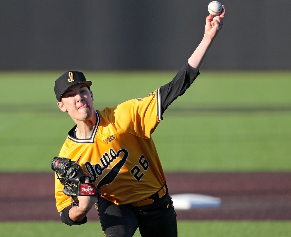 Iowa Hawkeyes pitcher Adam Ketelsen (26) delivers to the plate during the eighth inning of their game at Duane Banks Field in Iowa City on Tuesday, Apr. 2, 2019. (Stephen Mally/hawkeyesports.com)