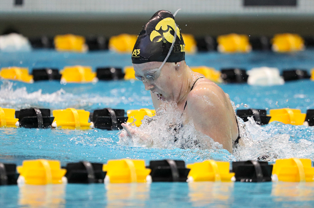 Iowa's Paige Hanley swims the women's 200-yard breaststroke event during their meet against Michigan State and Northern Iowa at the Campus Recreation and Wellness Center in Iowa City on Friday, Oct 4, 2019. (Stephen Mally/hawkeyesports.com)