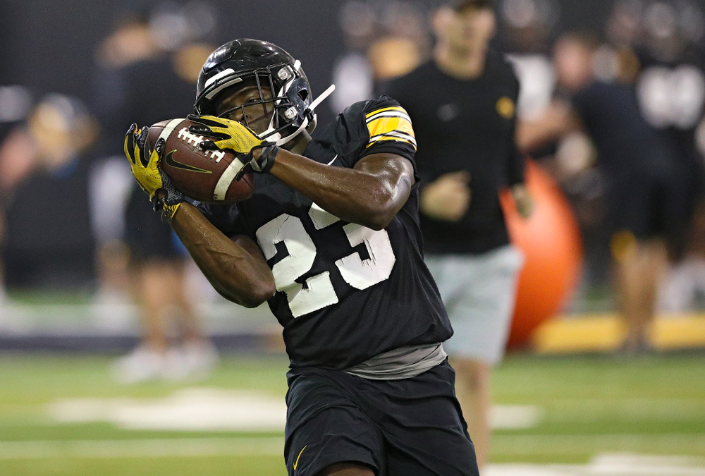 Iowa Hawkeyes running back Shadrick Byrd (23) pulls in a pass during Fall Camp Practice No. 9 at the Hansen Football Performance Center in Iowa City on Monday, Aug 12, 2019. (Stephen Mally/hawkeyesports.com)