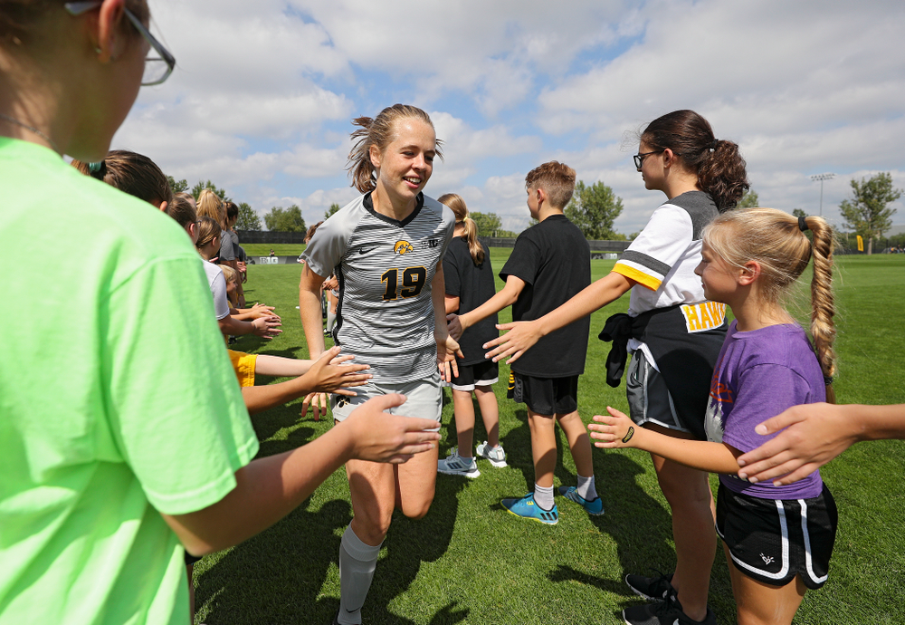 Iowa forward Jenny Cape (19) takes the field for their match at the Iowa Soccer Complex in Iowa City on Sunday, Sep 1, 2019. (Stephen Mally/hawkeyesports.com)